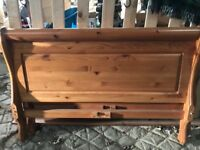 Double pine bed. Foot, head and support boards. Excellent condition.