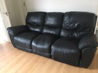 Black leather 3 seater also have arm chair to match