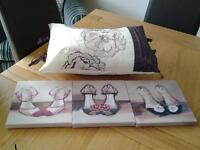 Canvas prints and cushion from next