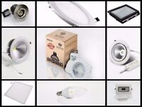 LED lighting for commercial domestic purpose in stock, panel lights, flood lights, light bulb etc
