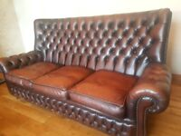 Orginal chesterfield, 3 seater sofa, real buttoned leather, mahogany brown