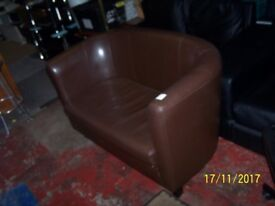 brown 2 seater tub chair
