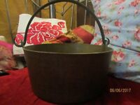Lovely old large Brass Preserving Pan with handle for hanging. Heavy.