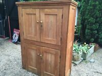 Solid vintage old pine cupboard