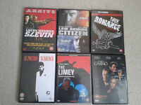 6 mixed '18' dvd's - inc Scarface, The Limey, Casino, Lucky Number 7, etc.