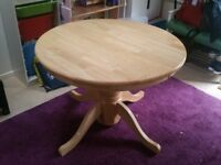 Solid wood table with extending section