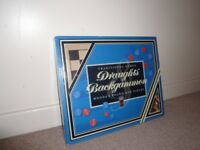 Traditional wooden games Draughts and Backgammon -New