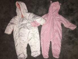 2 x Girls Snowsuits/Pramsuits 0-3 mths