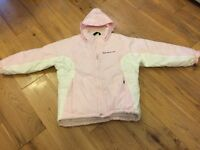 Girls ski jacket, age 7-8, pink/white