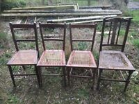 Chairs for re-caning (x 4). These are 4 old chairs ready to have the cane seats re-woven