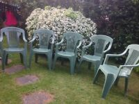 Set of 5 Green Plastic Garden Chairs