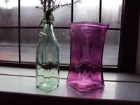 Purple Vase + Glass Bottle