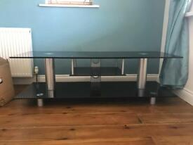 Black glass and stainless steel tv stand 1500mm x 500mm x 470mm high