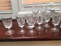 Cut glass sherry glasses
