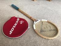 Vintage wooden Dunlop squash racket.