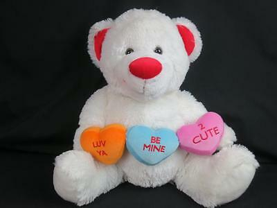 Big Smiling Dandee Valentines Day Candy Heart Red White Teddy Bear Be Mine Love