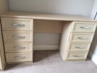 Three door mirror wardrobe and matching dressing table. Light beech colour