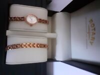 ROTARY WATCH AND MATCHING BRACELET GOLD PLATED.