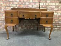 Vintage Burr Walnut Queen Anne Writing Desk Dressing Table Antique