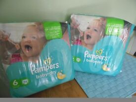 2 PACKETS PAMPERS NAPPIES SIZE 6 UNOPENED