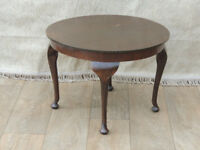 Round dark brown vintage coffee table wooden (Delivery)