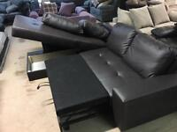 Brand new leather corner sofa bed with storage