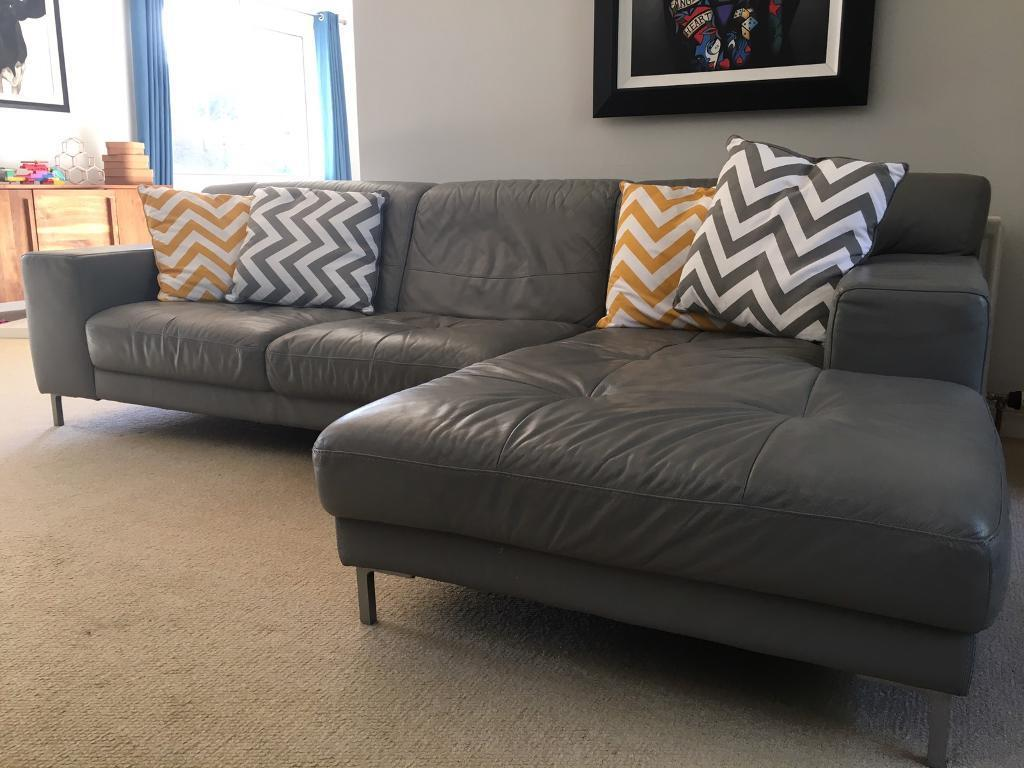 Grey Leather L Shaped Sofa Sold In County Antrim Gumtree