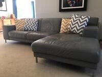 Grey leather L shaped sofa - SOLD