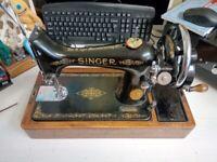 Vintage Singer Sewing Machine, Hand Crank Circa 1923