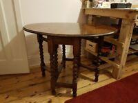 Drop Leaf Oak Dining Table with Gate Barley Twist Legs