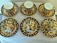 ROYAL CROWN DERBY IMARI PATTERN CUPS AND SAUCERS (6)