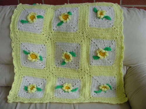 "New Crocheted handmade baby blanket crochet afghan yellow flowers  29""X39"""