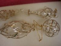 4 x Clear Glass, Gold Embossed Hanging Christmas Decorations, Sun / Dream Catchers