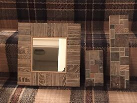 Wall Mirror in designer Tartan Wood
