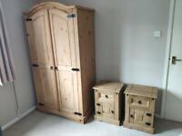 Double pine wood wardrobe