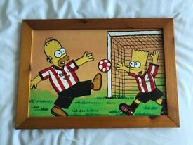 The Simpsons Bart and Homer Sunderland AFC framed wooden picture