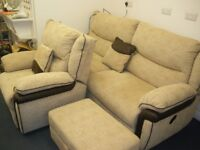 'LAZYBOY' BRAND RECLINER SOFA AND CHAIR (4 MONTHS OLD)