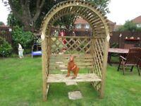 wooden garden arbour