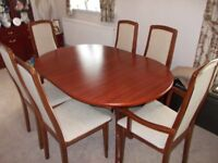MAHOGANY Table and 6 chairs plus 2 display cabinets