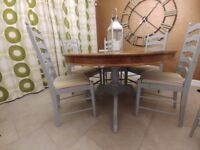 Oak dining table including 6 chairs