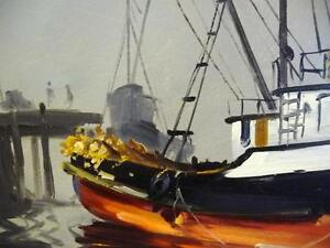 Listed Artist, Original Oil, Fishing Boat by Egbert Oudendag, Stratford Kitchener Area image 8