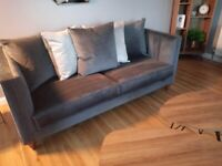AS NEW CONDITION 3Seater Sofa + 2 Cuddle Chairs (2x 1.5 Seaters)Grey Velvet