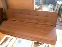 Ex Display Brown 3 Seater Leather sofa Bed