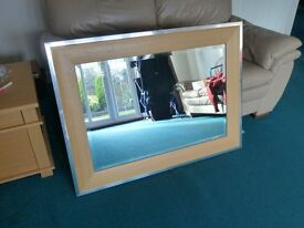 Beautiful large wall mirror with aluminium and solid beech wood surround