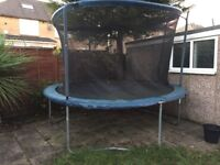 Large 12ft trampoline with enclosure