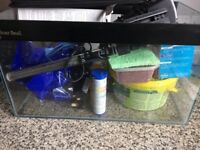 Fish tank, fish and many accessories.