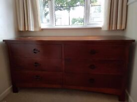 Solid dark wood chest of draws