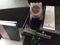 MENS DIAMOND AP ROYAL OAK CHRONOGRAPH FULLY ICED NEW WITH BOX BOOKS BAG