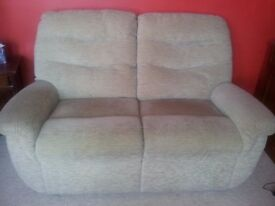 G PLAN TWO SEATER FABRIC SOFA IN VERY GOOD CONDITION