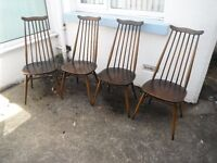 Vintage Set of 4 -Ercol Goldsmith Blue Label Chair -*Retro Furniture.*